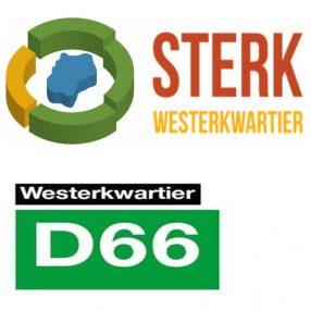 Logo's Sterk Westerkwartier en D66 Westerkwartier